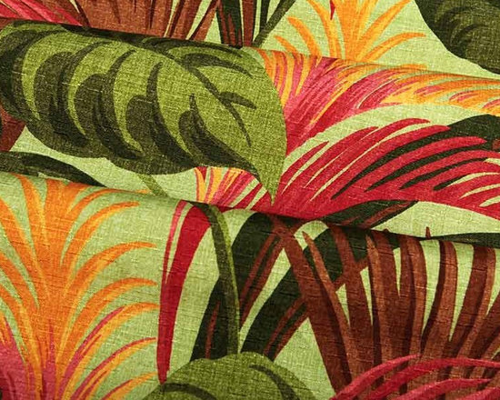 """Havana Fabric in Kiwi Green - Havana Fabric in Kiwi Green is a tropical leaf patterned, multi-colored fabric ideal for upholstering projects, drapery, or pillows. This heavily discounted fabric is available online by the yard. 100% polyester with a width of 62″. Repeat: V 25"""" H 27"""". This fabric has fire rating and passes 50,000 Double Rubs abrasion test. Machine washable with warm water."""