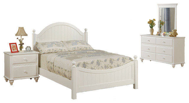 Wooden Youth Bedroom Set White Panel Headboard Full Size