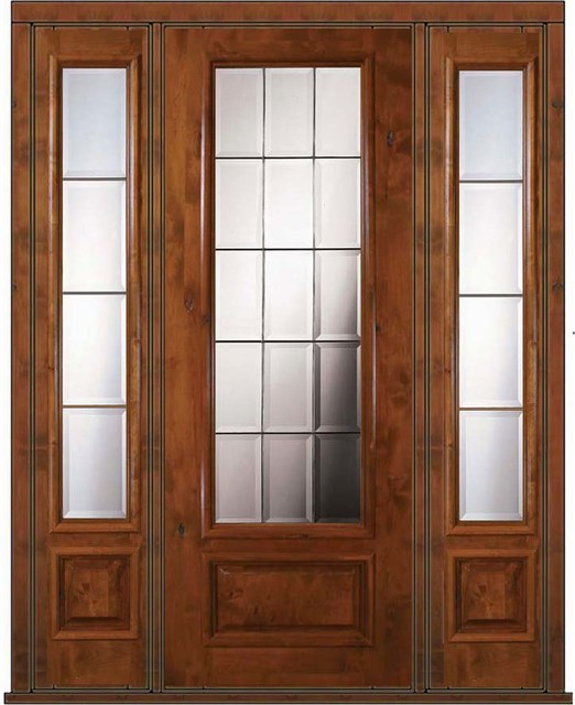 Prehung french side lights door 96 wood alder french 3 4 for All glass french doors
