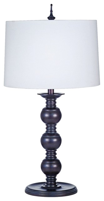Asian Japanese Three Ball Hardback Linen Table Lamp modern-table-lamps