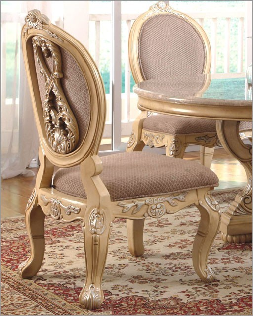 McFerran Home Furnishings - Traditional Upholstered Side Chair in White (Set of traditional-dining-chair-cushions