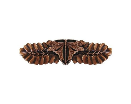 """Inviting Home - Dragonfly Pull (antique copper) - Hand-cast Dragonfly Pull in antique copper finish; 4""""W x 1-1/8""""H; Product Specification: Made in the USA. Fine-art foundry hand-pours and hand finished hardware knobs and pulls using Old World methods. Lifetime guaranteed against flaws in craftsmanship. Exceptional clarity of details and depth of relief. All knobs and pulls are hand cast from solid fine pewter or solid bronze. The term antique refers to special methods of treating metal so there is contrast between relief and recessed areas. Knobs and Pulls are lacquered to protect the finish."""
