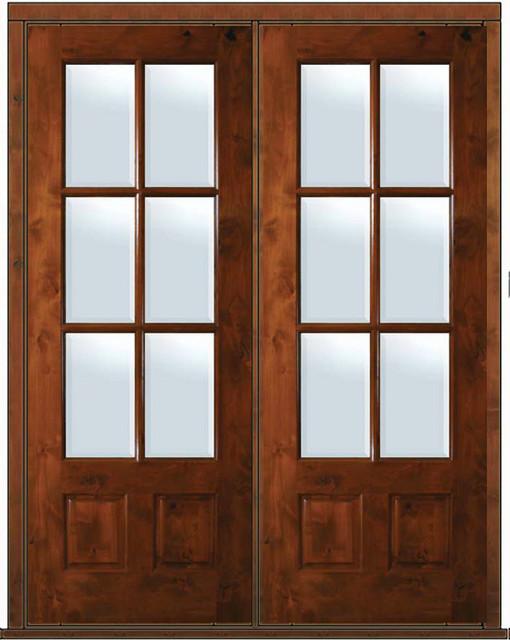 Prehung french double door 96 alder 3 4 lite 6 lite tdl for Hideaway screens for french doors