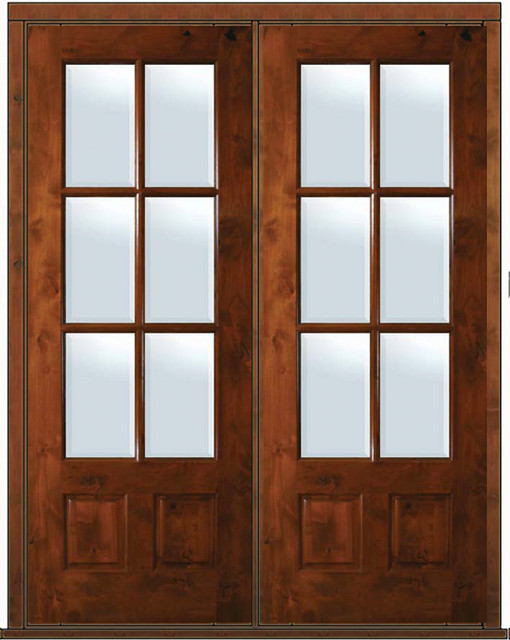 Prehung french double door 96 alder 3 4 lite 6 lite tdl for Double pane french doors