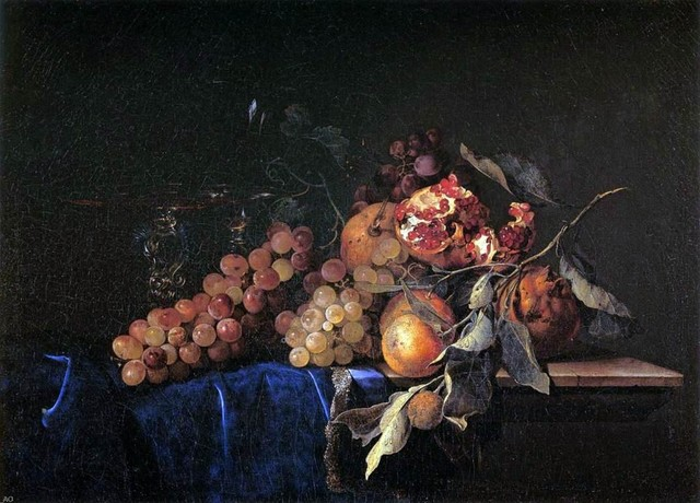 Willem Van Aelst Still-Life with Fruit and a Crystal Vase   Print traditional-artwork