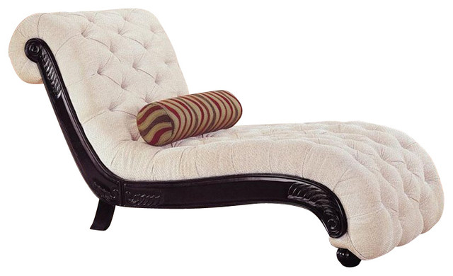 Coaster traditional beige chaise cappucino finish for Accent traditional chaise by coaster