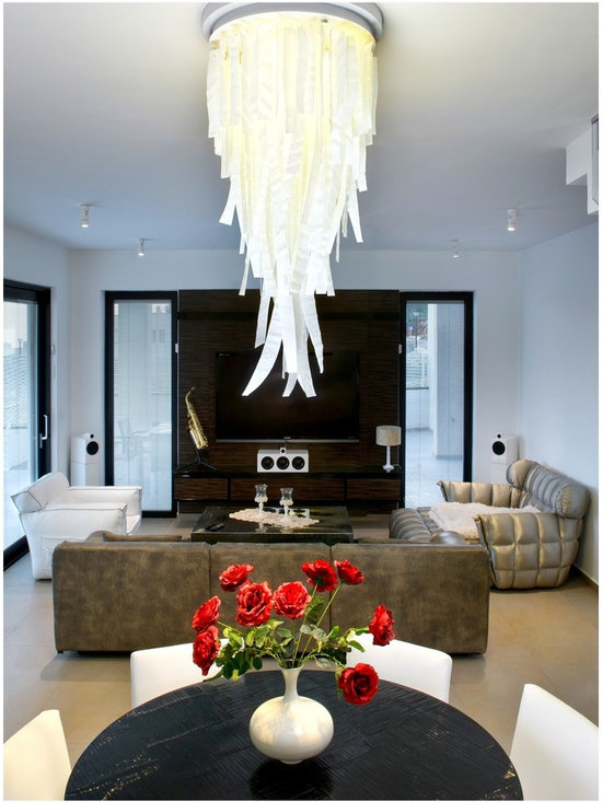 Light falls  - modern chandelier by GalileeLighting - Light falls in white is a beautiful modern chandelier, made of fused art glass pieces in a beautiful wavy texture that creates the look of the waterfall.