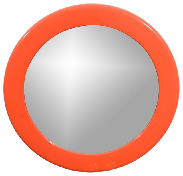 French Round Orange Resin Mirror by Syl modern-mirrors