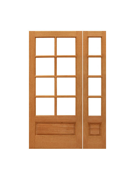 "Prehung 8-lite French Brazilian Mahogany Wood 1 Panel IG Glass Side light Door - SKU#    8-lite-P/B-Ext-1-1Brand    AAWDoor Type    FrenchManufacturer Collection    Mahogany French DoorsDoor Model    Door Material    WoodWoodgrain    MahoganyVeneer    Price    1338Door Size Options    [24""+14"" x 80""] (3'-2"" x 6'-8"")  $0[30""+14"" x 80""] (3'-8"" x 6'-8"")  $0[32""+14"" x 80""] (3'-10"" x 6'-8"")  $0[36""+14"" x 80""] (4'-2"" x 6'-8"")  +$10Core Type    SolidDoor Style    Door Lite Style    3/4 Lite , 8 LiteDoor Panel Style    1 Panel , Ovolo StickingHome Style Matching    Craftsman , Colonial , Cape Cod , VictorianDoor Construction    Engineered Stiles and RailsPrehanging Options    PrehungPrehung Configuration    Door with One SideliteDoor Thickness (Inches)    1.75Glass Thickness (Inches)    1/2Glass Type    Double GlazedGlass Caming    Glass Features    Insulated , Tempered , low-E , Beveled , DualGlass Style    Clear , White LaminatedGlass Texture    Clear , White LaminatedGlass Obscurity    No Obscurity , High ObscurityDoor Features    Door Approvals    FSCDoor Finishes    Door Accessories    Weight (lbs)    510Crating Size    25"" (w)x 108"" (l)x 52"" (h)Lead Time    Slab Doors: 7 daysPrehung:14 daysPrefinished, PreHung:21 daysWarranty    1 Year Limited Manufacturer WarrantyHere you can download warranty PDF document."