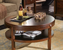 Wet your coffee table whistle with the sarsaparilla-chic American Drew Tribecca contemporary coffee tables