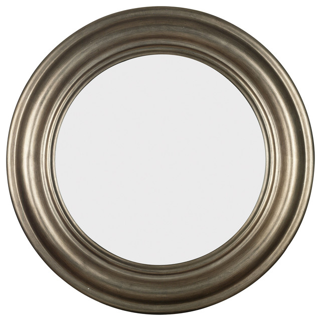 Pasco round antique silver wall mirror contemporary for Round silver wall mirror