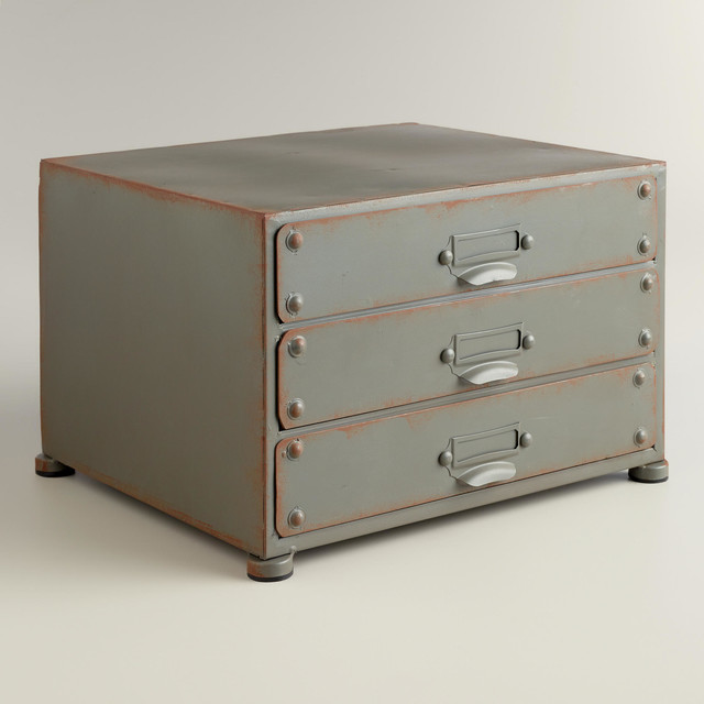 Zinc Austin 3-Drawer File - Industrial - Desk Accessories - by Cost Plus World Market