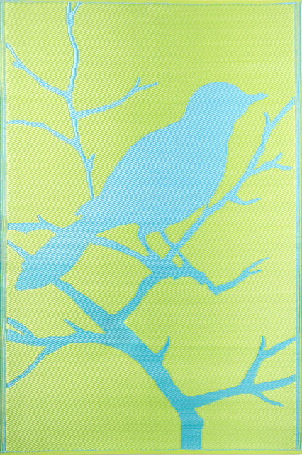Birds Floor Mat, Yellow/Turquoise contemporary-outdoor-rugs