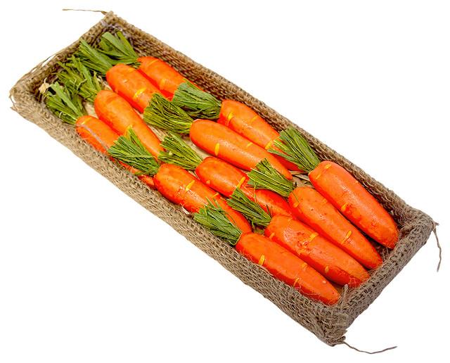 Decorative Box of 12 Small Carrots - Farmhouse - Artificial Plants And ...