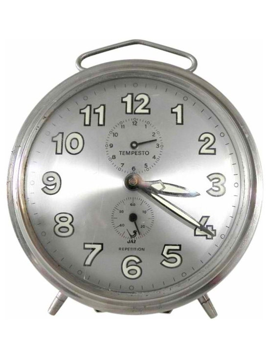 Chrome JAZ Alarm Clock - A large 5 1/5 inch chrome alarm clock from the 1960's France.  Modle marked Tempesto JAZ Repetition.  In working order has a gentle ticking to remind you that time waits for no one.