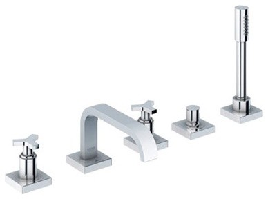 Allure Thermostatic Roman Tub Faucet with Personal Hand Shower modern-showerheads-and-body-sprays