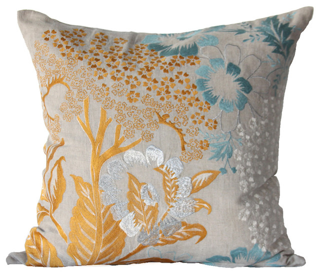 Eclectic Style Pillows : Hydrangea Pillow - Blue/Harvest/Ivory/Silver - Eclectic - Decorative Pillows - by Bliss Home ...