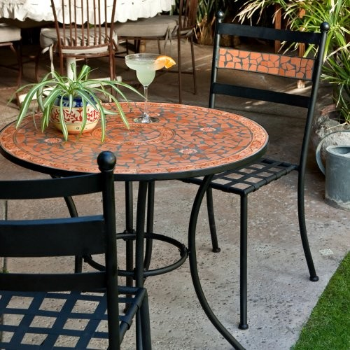 Terra Cotta Mosaic Bistro Set contemporary outdoor tables