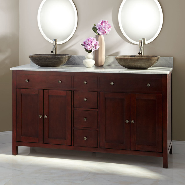 60 Vargas Cherry Double Vessel Sink Vanity Contemporary