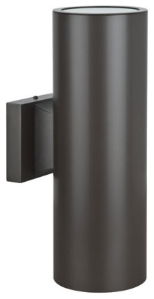 Architectural Outdoor Fluorescent Two-Light Oil Bronze Aluminum Round Outdoor Wa contemporary-outdoor-wall-lights-and-sconces