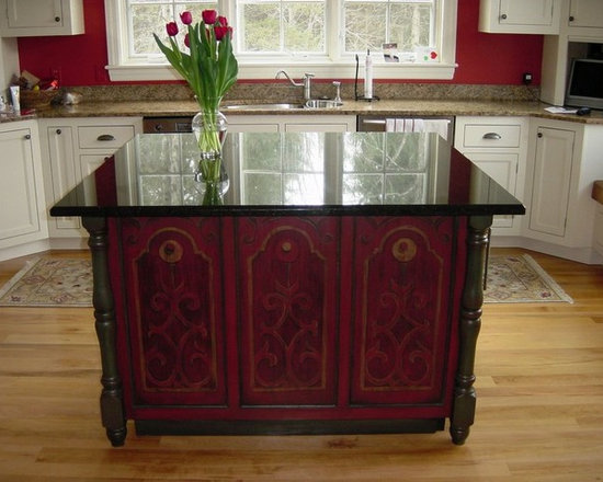 Custom Furniture - Hand painted Kitchen Island with custom granite counter top.