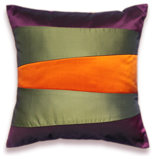 Eggplant Purple Throw Pillows : Decorative Pillow Case 16 in SIENNA in Orange Purple And Olive Green - Contemporary - Decorative ...