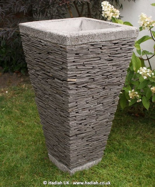 Stacked Stone Plant Pots Modern Outdoor Pots And Planters Manchester UK