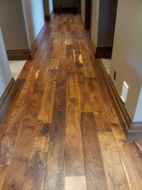 7 hand scraped walnut plank traditional hardwood for Hand scraped wood floors