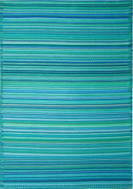 Indoor Outdoor Cancun Rug Turquoise & Moss Green 5x8