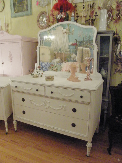 Antique dresser white shabby chic distressed appliques swags roses mirror eclectic new york Antique bedroom dressers and chests