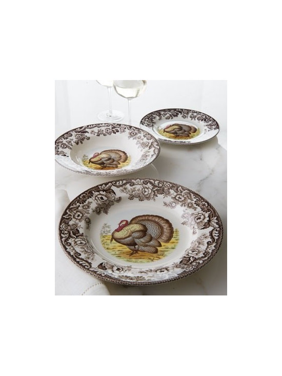 "Spode ""Woodland"" Dinnerware - Whether your passion is hunting or just the beauty of nature, this dinnerware is a nice addition to your table. Traditional English-design earthenware features turkeys, rabbits, or ducks with a border pattern inspired by the British flower designs favored in the early 19th century."