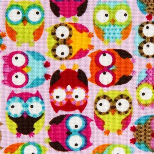 pale pink designer fabric with small colourful owls fabric