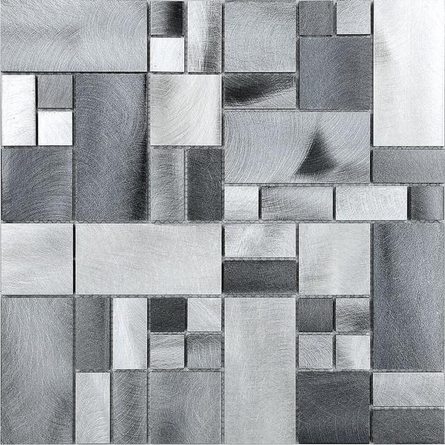 metal metallic gray aluminum mosaic kitchen backsplash