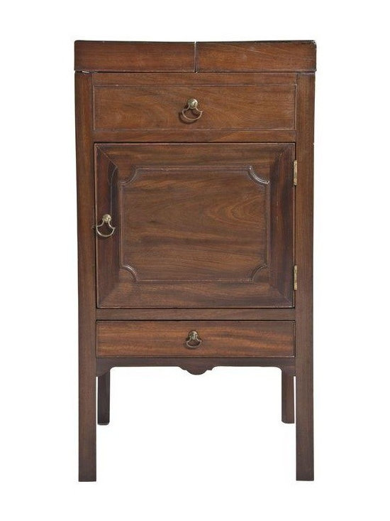 Pre-owned 1810 Mahogany Dressing Table - George III period mahogany dressing table with split top, single drawer and cabinet.  An interesting piece to use as a nightstand.