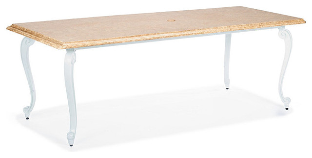 Glen Isle Rectangular Outdoor Dining Table With Faux Stone Top In White Finis