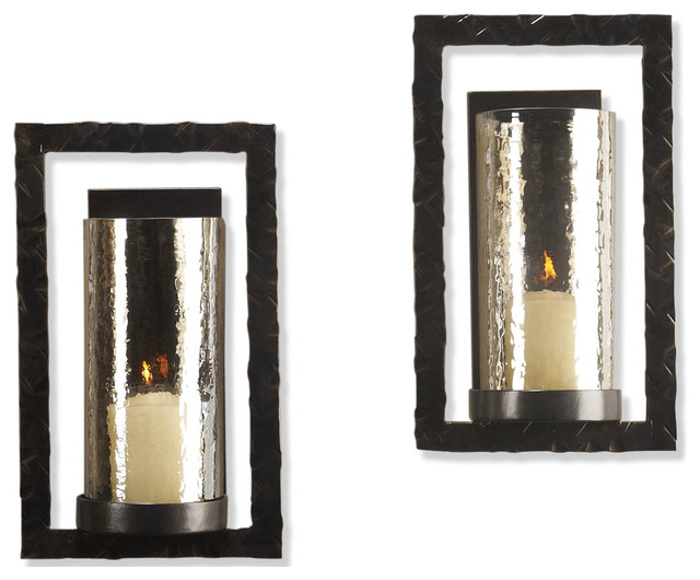 Pair Tomar Contemporary Oiled Bronze Rectangle Wall Sconce - Transitional - Candles And ...