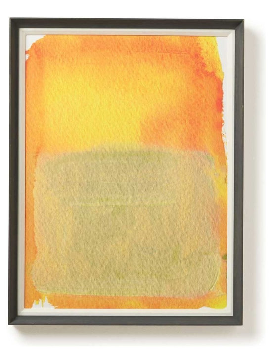 Viva Terra - Cream Fade - Limited edition, watercolor print on Somerset watercolor paper. A richly pigmented abstract ink, this piece evokes the simplicity and warmth of a natural environment in deep shades of yellow and cream. Embossed and framed in hand-treated, house-designed framing. 28�W x 32�L x 2�D