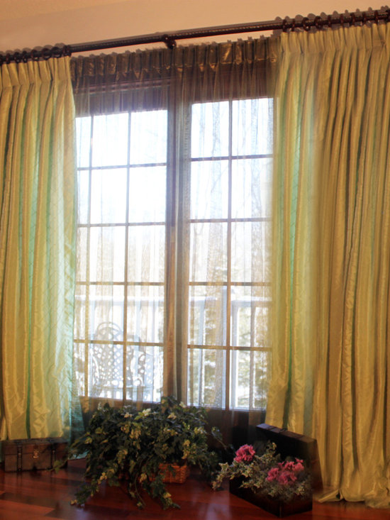 Pistachio Taffeta Drapes with Green Olive Sheers -