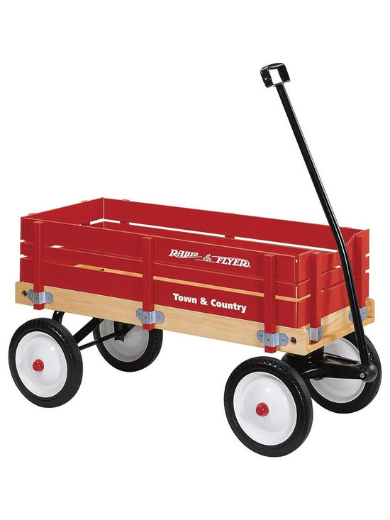Radio Flyer Products - Radio Flyer Products - Town and Country Wagon - Dr. Toy Best Classic Product. Extra-large body crafted of natural wood.  Bright red removable sides of select wood.  Durable steel wheels with real rubber tires for a quiet ride.  Extra-long handle for easy pulling.  Handle folds under for easy storage.  No-pinch ball joint keeps fingers safe.  Controlled turning radius prevents tipping.  Wood sides are easy to install and remove.  For ages over 1-1/2