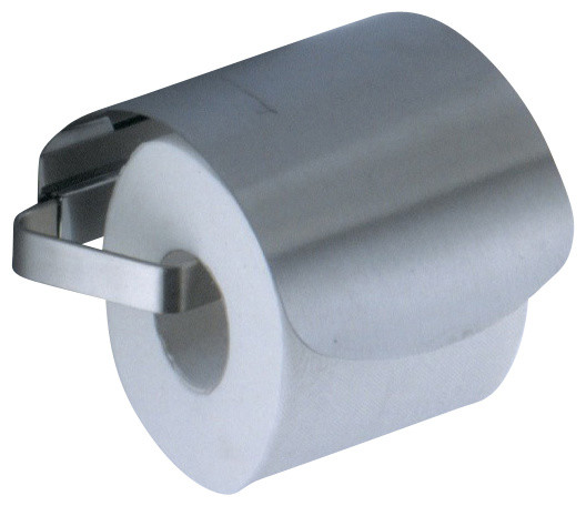 Satin Nickel Toilet Roll Holder with Cover contemporary-toilet-paper-holders