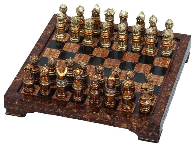 Medieval chess set resin game board brown checkered 32 decor traditional board games and - Medieval times chess set ...