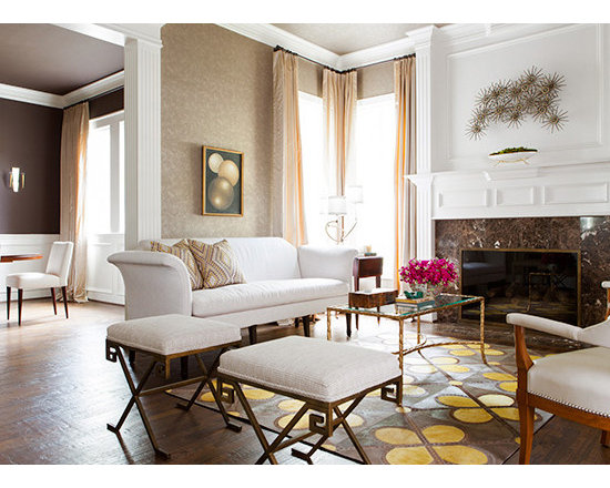 Modern romance - Custom designed & colored cowhide rug with lasered accents by Interior Resources