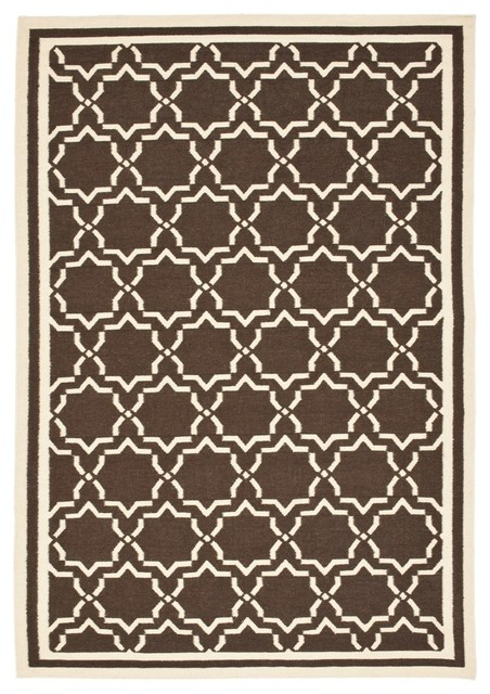 Contemporary Dhurries 8'x10' Rectangle Chocolate - Ivory Area Rug contemporary-rugs