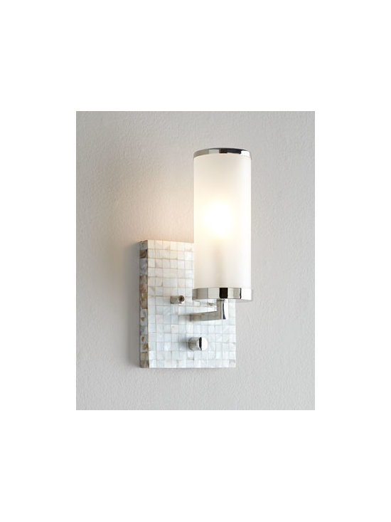 Regina-Andrew Design - Regina-Andrew Design Square Mother-of-Pearl Wall Sconce - A delectable combination of shimmery mother of pearl, satiny metal, and translucent opal-white glass, this petite wall sconce dresses up small spaces while providing necessary light. We think it looks magnificent in a hallway, entryway, or powder room o...