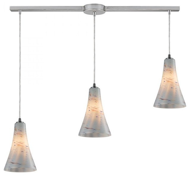 Three Light Satin Nickel Multi Light Pendant tropical-kitchen-lighting-and-cabinet-lighting