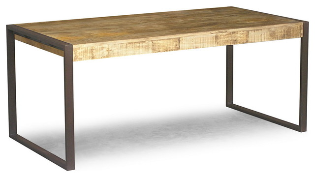 RECLAIMED MANGO WOOD DINING TABLE WITH METAL LEGS Eclectic Dining Tables