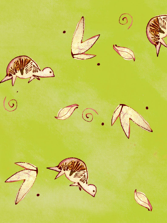 Daybreak Turtle Chartreuse Designer Fabric - Whimsical turtles and leaves on tone on tone to mix & match. Perfect for tabletop, bedding, curtains, children's and more.