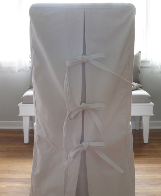 Custom Shabby Chic Parsons Dinning Chair Covers in White Canvas Cotton - Contemporary - Dining ...
