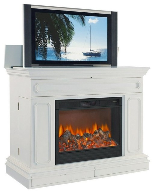 Remington 59 Hidden Pop Up Tv Lift Cabinet With Electric Fireplace White Farmhouse Media