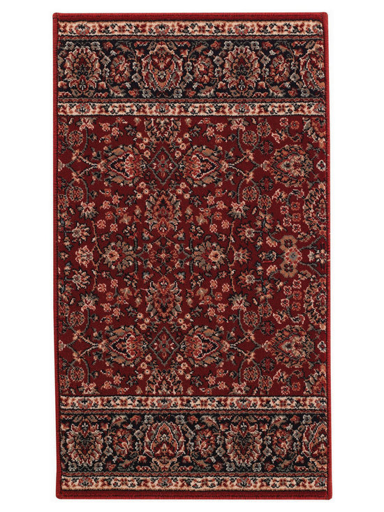 Rahmaz Floral Herati runner roll rug in Red Navy - These faithful Persian reproductions and exquisite Traditional color combinations are superior examples of the finest Wiltons ever made.